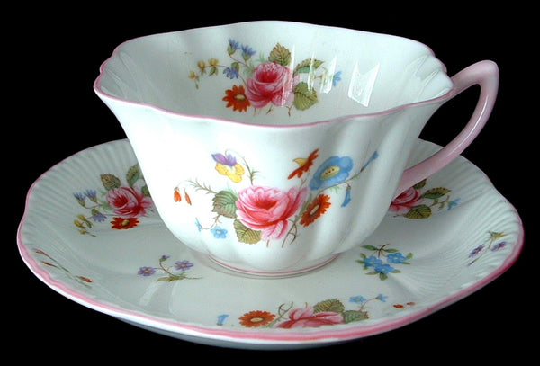 Shelley Teacup Rose Spray Stratford England Rose And Red