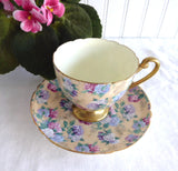 Shelley Summer Glory Chintz Ripon Cup and Saucer Ivory Hydrangeas