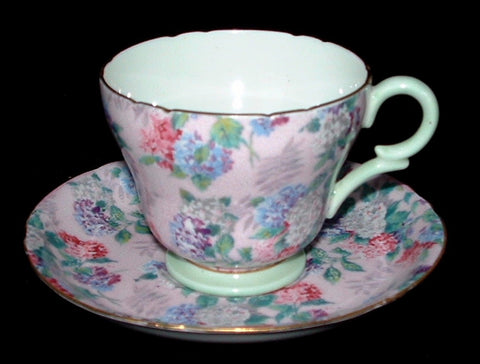 Shelley Cup And Saucer Summer Glory Chintz Pink Demi Henley Shape
