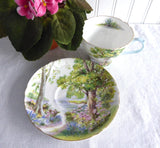 Shelley Woodland Cup and Saucer Cambridge Shape Landscape Teacup 1950s