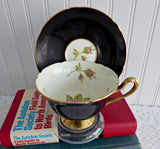 Black Shelley England Cup and Saucer Shelley English Rose Gainsborough 1950s