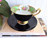 Shelley Black Teacup Duchess Green Cup and Saucer Shelley England Gainsborough 1950s