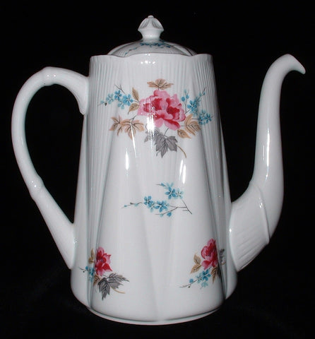 Shelley England Dainty Coffee Pot Large Pretty Floral 1950s Tall Teapot As Is
