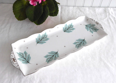Sandwich Tray Shelley Drifting Leaves Large Rectangular Serving Plate 1950s Aqua Leaves
