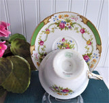 Green DuBarry Shelley England Cup and Saucer Gainsborough Shape 1950s