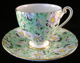 Shelley Cup and Saucer Green Daisy Chintz Ripon Shape England Teacups