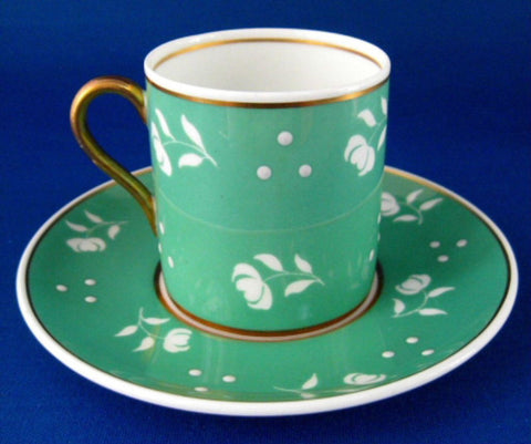 Shelley Green Stencil Mocha Cup And Saucer Raised Dots Chintz 1940