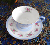 Shelley Pink Rose Cup And Saucer Henley Shape Blue Stripes Gold Trim