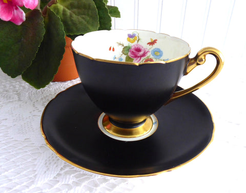 Rare Shelley Matte Black Ripon Cup and Saucer 1950s Rose And Red Daisy