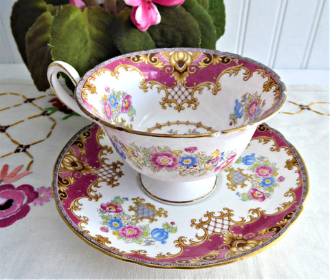 Pink Sheraton Shelley England Cup and Saucer Gainsborough Shape 1950s Pedestal