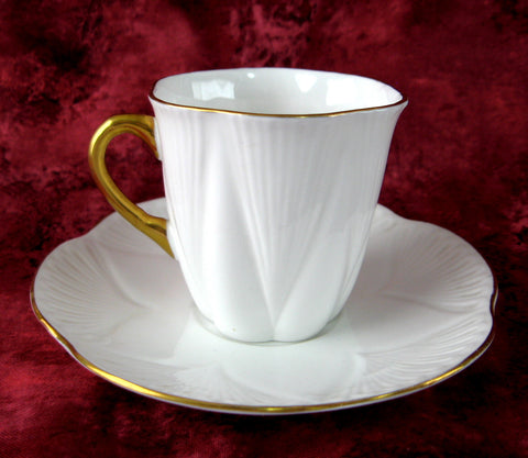 Shelley Tall Dainty Regency Cup And Saucer White And Gold Demitasse