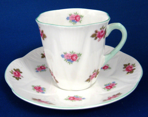 Cup And Saucer Shelley China Tall Dainty Rosebud Demitasse 1950s Coffee