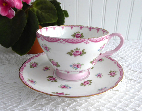 Pink Rosebuds Shelley Cup And Saucer Henley Shape 1950s Pink Bunting Trim