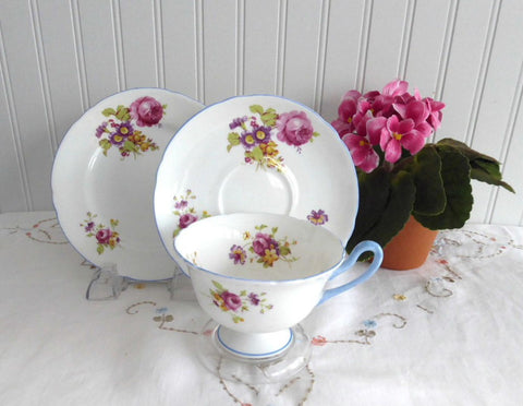 Shelley Cup Saucer Plate Gainsborough Floral Blue Trim Teacup Trio