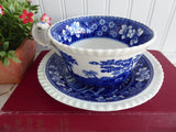Spode Copeland Spode's Tower Breakfast Size Cup And Saucer 1950s Blue