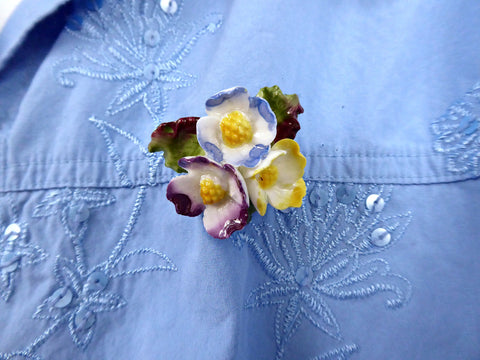 Bone China Flowers Brooch England 1950s Primroses Blue Purple Yellow