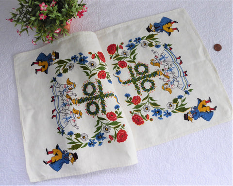 Swedish Folklore Midsummer Runner Dresser Scarf 1950s Linen 28 Inches Dish Towel
