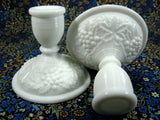 Pair Vintage Grape Milk Glass Candle Holders 1950s Grapes Imperial Glass