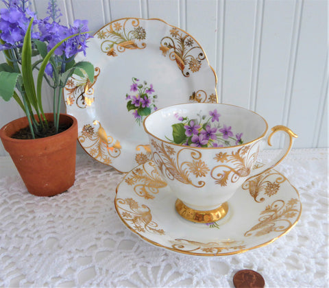 Spring Violets Teacup Trio Cup And Saucer With Plate Windsor 1950s Gold Overlay