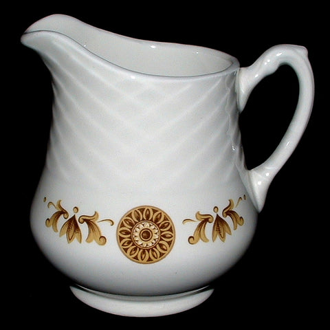 Creamer Wedgwood Gold Medallion Pitcher Cream Milk Jug 1950s Retro Harvest Gold