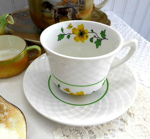 Cup And Saucer Jacqueline Yellow And White Wedgwood 1960s Basket Weave