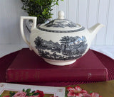 Teapot Wedgwood Lugano Black Transferware 1960s Afternoon Tea 1950s