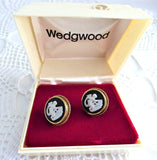 Earrings Wedgwood Black Jasper Gold Filled Screw Mounts 1950s Cupid