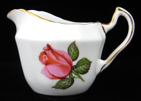 Creamer English Pink Roses Gold Trim Windsor 1950s Bone China