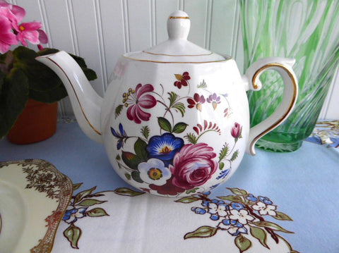 Vintage Ellgreave Floral English Tea Pot Teapot Ironstone 1950s Woods Afternoon Tea