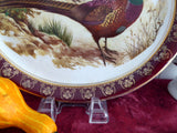 Pheasants Oval Platter 1950s Wood and Sons Game Birds Burgundy Border Gold Overlay