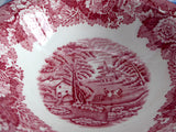 Soup Bowl English Scenery Red Transferware Woods Cereal Bowl 1950s Ironstone