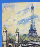 Postcard Artist Signed Watercolor Eiffel Tower Paris Yvon 1950s Impressionist