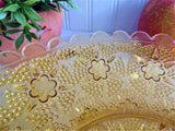 Amber Glass Fruit Bowl 1950s Large Dots Flowers Scalloped Rim Depression Glass