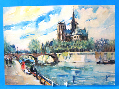 Postcard Signed Artist Yvon Watercolor Notre Dam Seine 1950s
