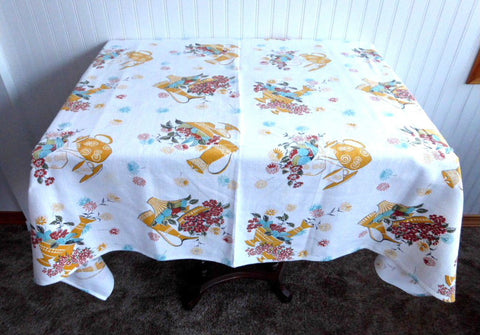 Eames Era 1950s Tablecloth Barkcloth 1950s Tea Cloth Retro Colors 45 Square