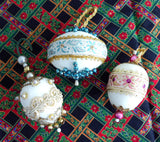Set 3 Beaded Christmas Tree Ornaments Antique Gold Bullion Lace Hand Made 1950s Egg Shaped