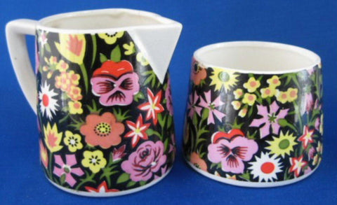 Black Floral Chintz Sugar And Creamer Milk Jug 1950s Japan Tea Party