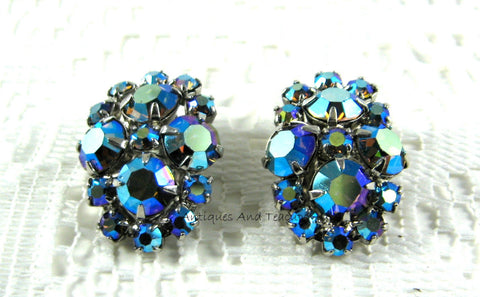 Blue Aurora Borealis Rhinestone Earrings Clips 1950s D&E Lovely Iridized Tea Party Juliana