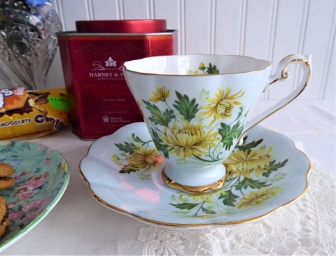 Chrysanthemum Cup And Saucer Romance Pale Blue Royal Standard 1950s Bone China