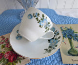 Cup And Saucer Blue Flowers Gold Trim Porcelain China 1950s Chrysanthemum Teacup