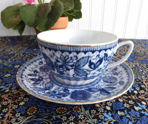 Blue And White Cup And Saucer 1950s Japan Blue Transferware Teacup Porcelain