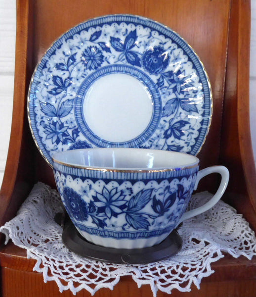Blue And White Cup And Saucer 1950s Japan Blue
