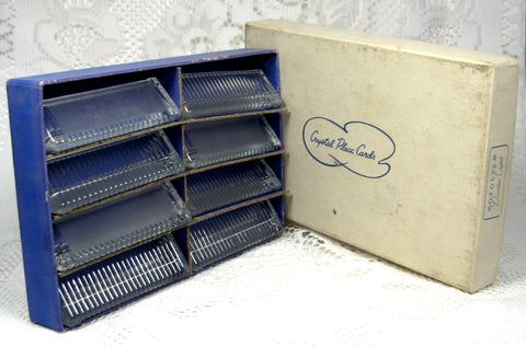Crystal Place Cards Holders Boxed Set of 8 1950s Seating Card Holders Boxed