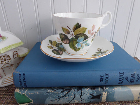 Bronze Roses 1960s Cup And Saucer Pink Green Blue Leaves Royal Ascot English Bone China