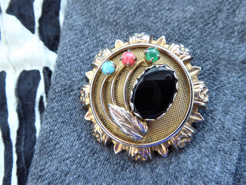 Faux Gemstone Flower Pin Multicolor Convertible Pendant Layered 1950s Gold Plate