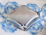 Vintage Candy Bowl Sugar Basket 1950s Chrome Reticulated Tea Party Calling Cards