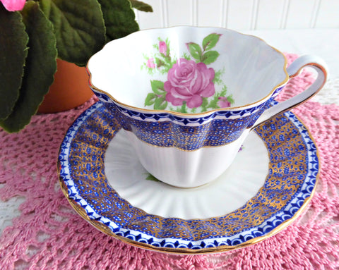 Gorgeous Cup And Saucer Cobalt Blue Gold Filigree Pink Rose 1950s English Bone China