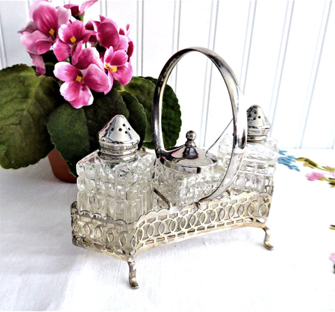 Vintage 8 Piece Salt Pepper Mustard Caddy 1940-1950s Cruet Set Condiments Silver Plate