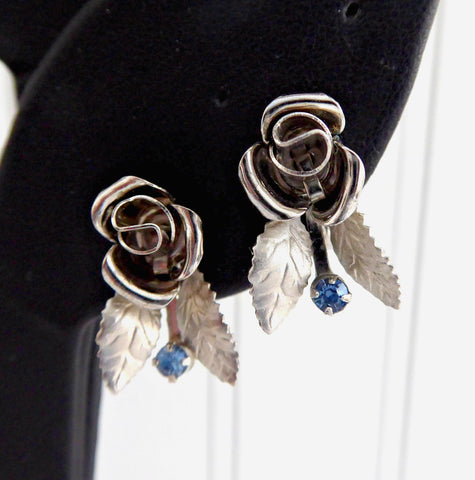 Silver Rose Earrings 1950s Ice Blue Rhinestones Figural Screw Back