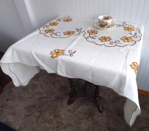 ... Cross Stitch Embroidered Tablecloth 48 Square Tea Cloth Bridge Cloth  Fall Colors ...